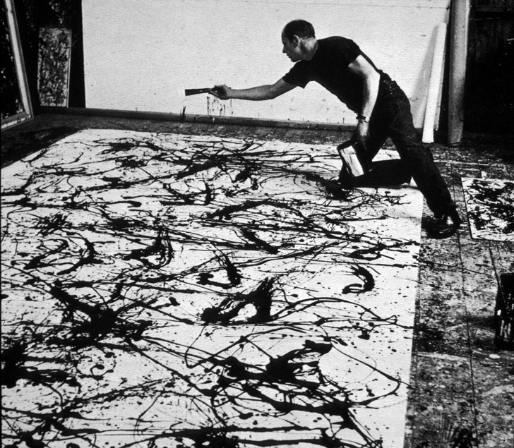 Abstract expressionist, Jackson Pollock practised something called 'Action Painting' where the process of making his art was as important as the final piece.