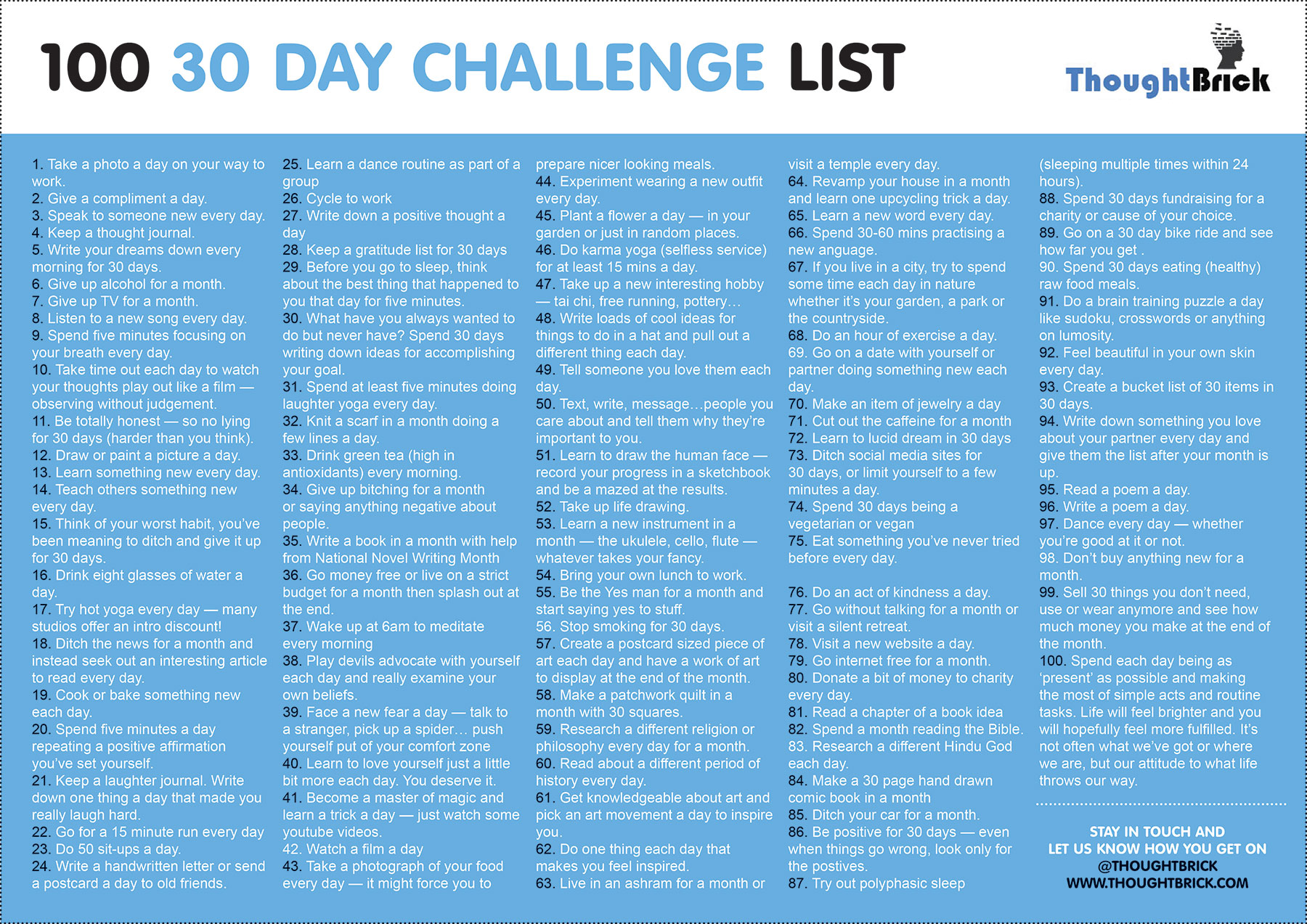 the ultimate 30 day challenge list 100 ideas to get you started